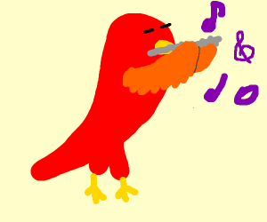 Parrot playing a flute