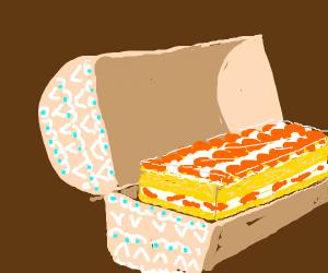 Orange cake in a box