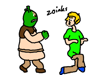 Shrek fights shaggy