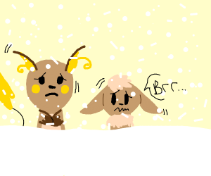Raichu and Eevee chilling out
