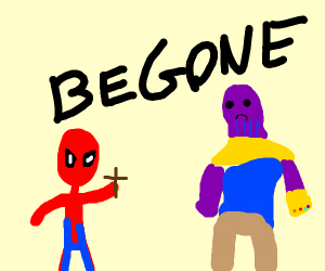 Spiderman kills thanos with a crucifix