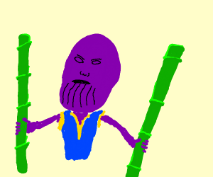 Purple headed guy with bamboo