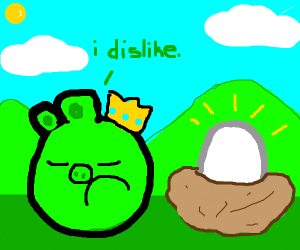 Pig from Angry Birds hates Egg