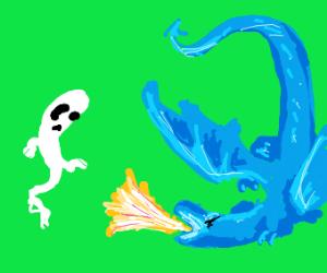 Dragon seeks to destroy a ghost