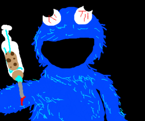 Cookie Monster injects cookiedough w/ syringe