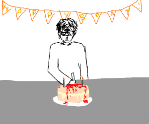 Man murdering cake