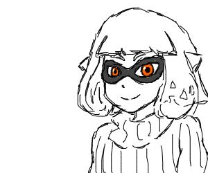 Splatoon girl w/ short hair and a turtleneck