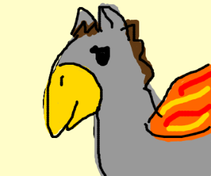 A hippogryph with flaming wings