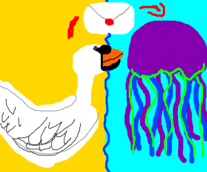 Swan sends a letter to mr. jellyfish