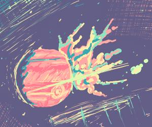 Space Explosion over Jupiter