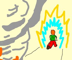 Shaggy walking away from smoke