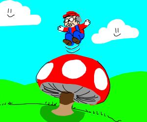 Old manplaying with a mushroom