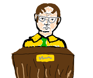 Dwight Shrute with a stand