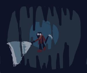 Pyro (TF2) Mining in a dark cave