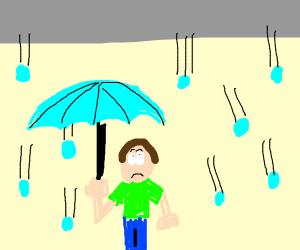 Person under umbrella while it's raining hail