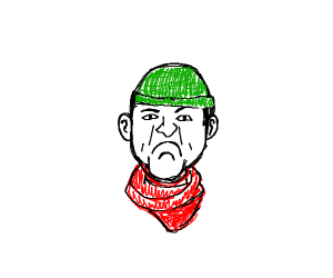an angry man w/ a red scarf & a green hat