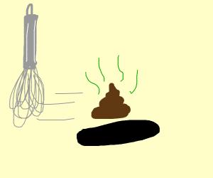 poop bieng swiftly whisked into a deep dark