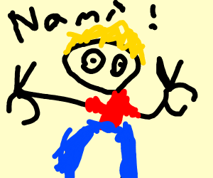 "blonde dude says ""Nami!"""