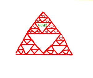 Serpinski's triangle, top triangle says yoshi