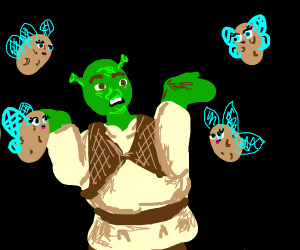 shrek surrounded by potato fairies