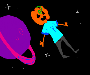 Pumpkin man in outer space