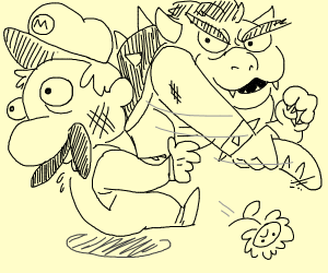 Mario Bros. are beaten with French bread