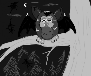 a furby perches on a decrepit branch at night