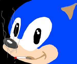 Sonic the Shithog is smoking