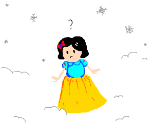 Confused Snow White in Snow