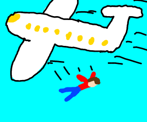 guy falls off an airplane!