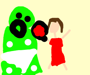 tiny mother feeds her giant baby green goop