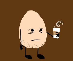 an egg drinking coffe