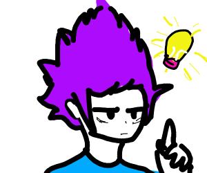 purple haired boy has an idea
