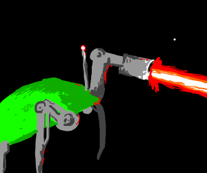 grass hill becomes a robot and fires a lazer