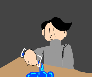 Guy poors water on table