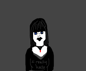 "Goth girl w/ shirt that says ""I really hate"""