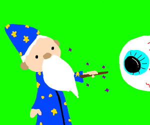 Wizard summoning a giant eye with magic