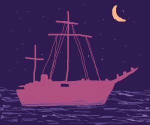 A pirate ship sailing under a starry sky