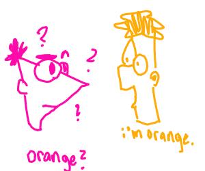phineas confused bc ferb is orange