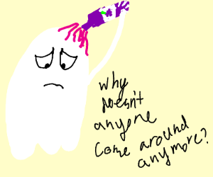 Ghost is lonely, pours wine on his head