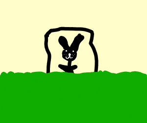 badly drawn Mr. Rabbit in small box in field