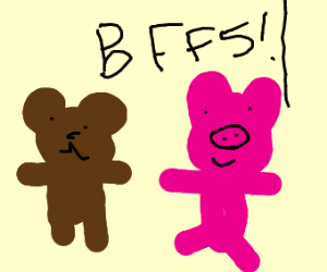 Cute bear and pig they friends