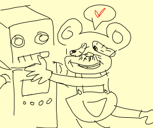 Tired Mickey Mouse Loves Robot