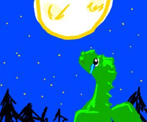 Sad dragon looks at the moon.