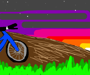 Bike on a cliff facing a sunset