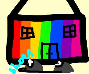 a rainbow house waking