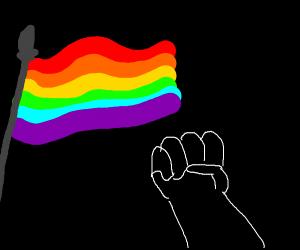 Gay pride and qhite fist