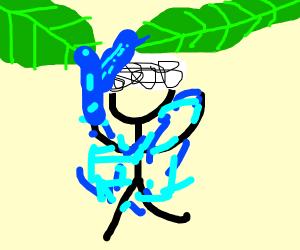 naked guy having a shower under a leaf