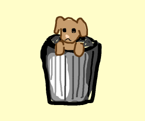Dog in a trash can