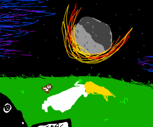Stargazing, as a meteor falls towards earth